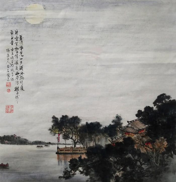 艺名千鹤,博士学位,心灵派新文人画倡导者.