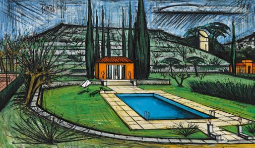 贝尔纳·布菲《拉博美庄园》油画画布 114x195 cm 1988年